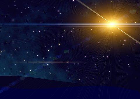 The sun in a dark sky seen from earth.
